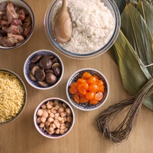 Ingredients to make Chinese rice dumplings