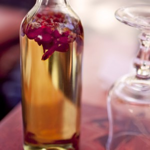 Olive oil with chilli pepper in a glass jar