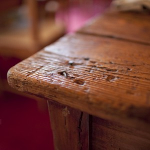 A rustic table